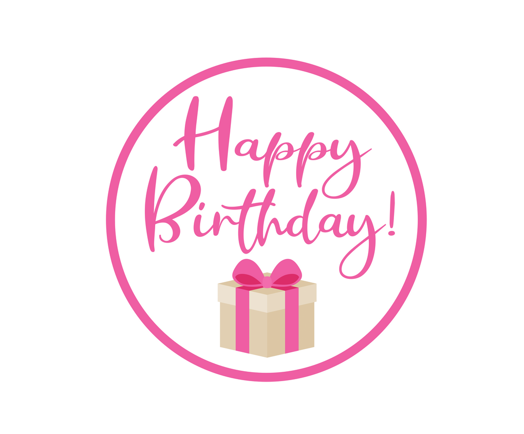 Happy Birthday Pink Present Stephany Package Tags - Dots and Bows Designs