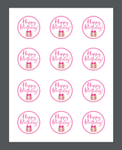 Load image into Gallery viewer, Happy Birthday Pink Present Stephany Package Tags - Dots and Bows Designs
