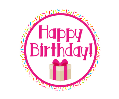Happy Birthday Pink Sprinkles Present Jawsome Package Tags - Dots and Bows Designs