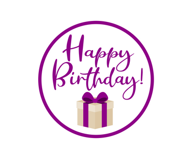 Happy Birthday Purple Present Stephany Package Tags - Dots and Bows Designs