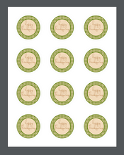 Load image into Gallery viewer, Happy Thanksgiving Green Plaid Package Tag - Dots and Bows Designs