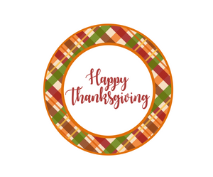 Happy Thanksgiving Plaid Package Tag - Dots and Bows Designs