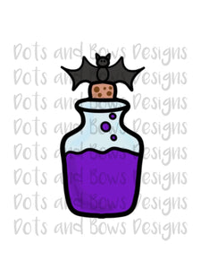 Bat Potion Bottle Cutter - Dots and Bows Designs