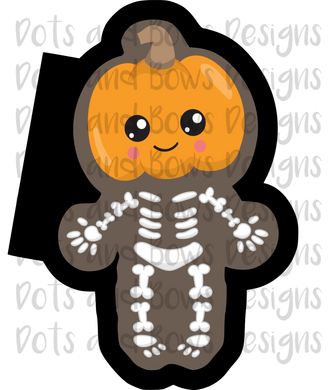 Pumpkin Skeleton Cutter - Dots and Bows Designs