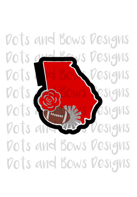 Georgia Football Cutter - Dots and Bows Designs