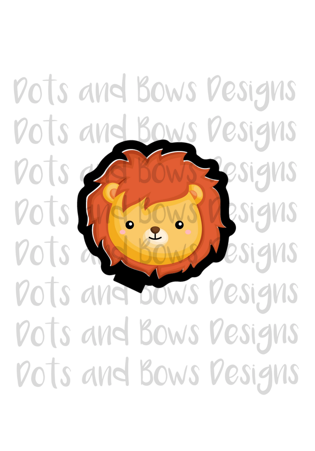 Cowardly Lion Face Cutter - Dots and Bows Designs