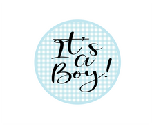 Load image into Gallery viewer, Its a Boy Gingham Package Tags - Dots and Bows Designs