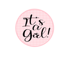 Load image into Gallery viewer, Its a Girl Gingham Package Tags - Dots and Bows Designs