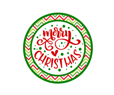 Merry Christmas Green Chevron Package Tags - Dots and Bows Designs