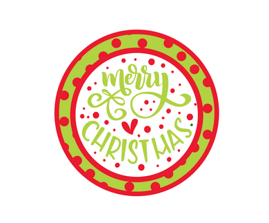 Merry Christmas Green Dotted Package Tags - Dots and Bows Designs
