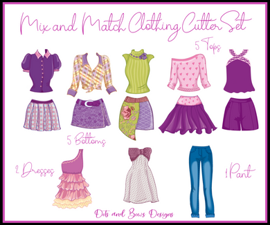 Mix and Match Clothing Cutter Set - Dots and Bows Designs