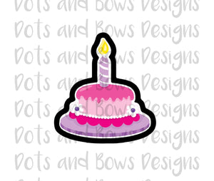 Single Layer Birthday Cake Cutter - Dots and Bows Designs