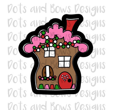 Wonky Gingerbread House Cutter - Dots and Bows Designs