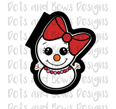 Chubby Girl Snowman Cutter - Dots and Bows Designs