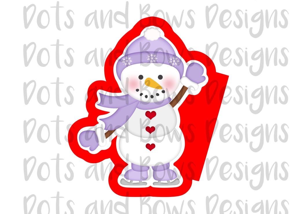 Skating Snowman Cutter - Dots and Bows Designs