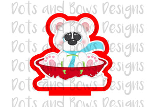 Sledding Bear Cutter - Dots and Bows Designs