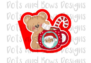 Candy Cane Bear Cutter - Dots and Bows Designs