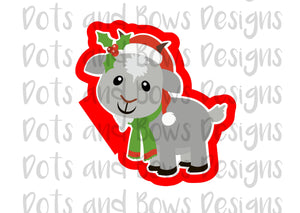 Christmas Goat Cutter - Dots and Bows Designs