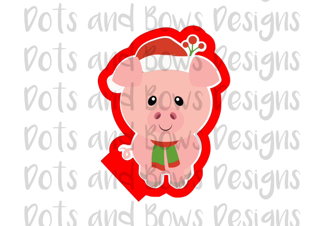 Christmas Pig Cutter - Dots and Bows Designs