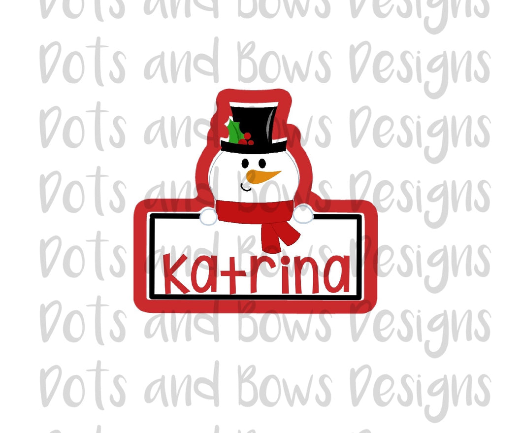 Snowman Plaque Cutter - Dots and Bows Designs