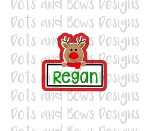Reindeer Plaque Cutter - Dots and Bows Designs