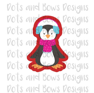 Earmuff Penguin Cutter - Dots and Bows Designs
