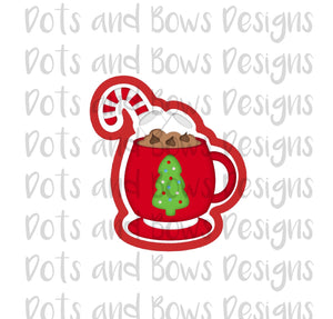 Candy Cane Cocoa Cutter - Dots and Bows Designs