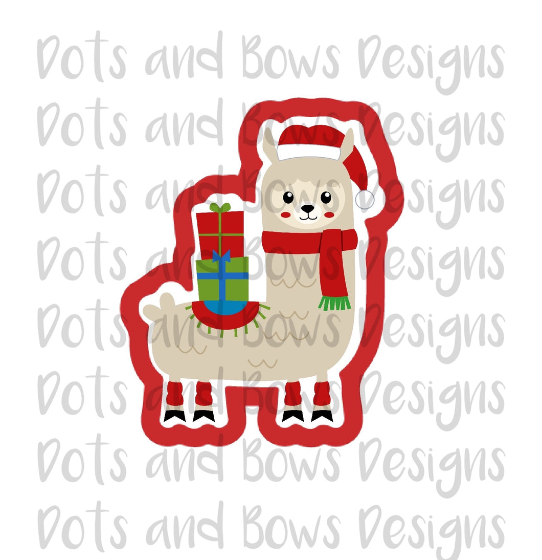 Christmas Llama Cutter - Dots and Bows Designs