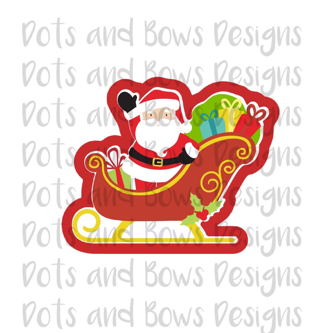 Santa In Sleigh Cutter - Dots and Bows Designs
