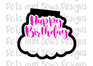 Happy Birthday Scalloped Cutter - Dots and Bows Designs