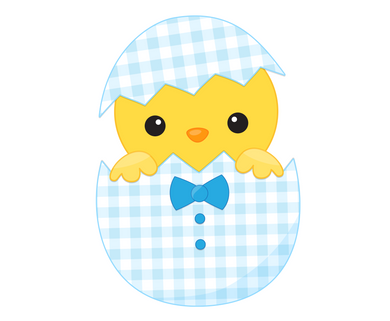 Boy Chick in Egg Cutter - Dots and Bows Designs