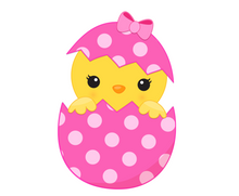 Load image into Gallery viewer, Girl Chick in Egg Cutter - Dots and Bows Designs