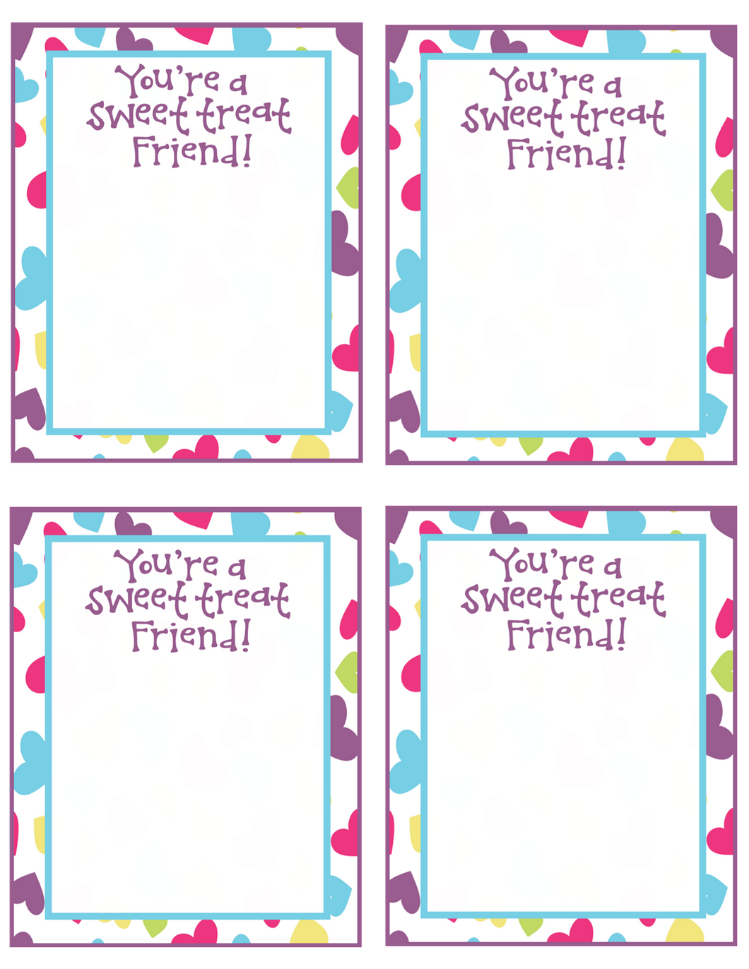 Sweet Treat Friend VDay Card 4x5 - Dots and Bows Designs