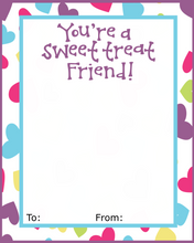 Load image into Gallery viewer, Sweet Treat Friend w/TF VDay Card 4x5 - Dots and Bows Designs