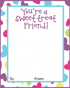 Sweet Treat Friend w/TF VDay Card 4x5 - Dots and Bows Designs
