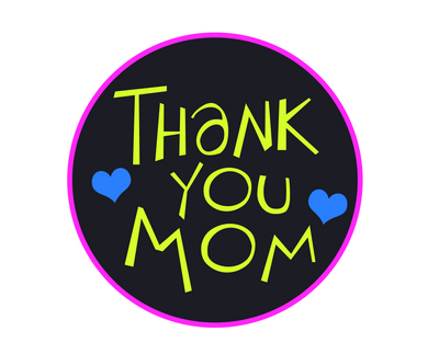 Thank You Mom Fluorescent Package Tags - Dots and Bows Designs