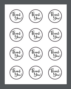 Thank You BW Package Tags - Dots and Bows Designs