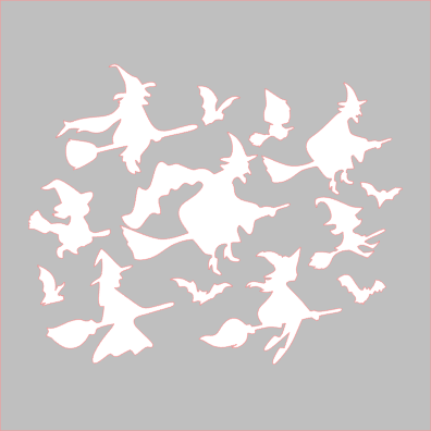 Witches Flying Stencil