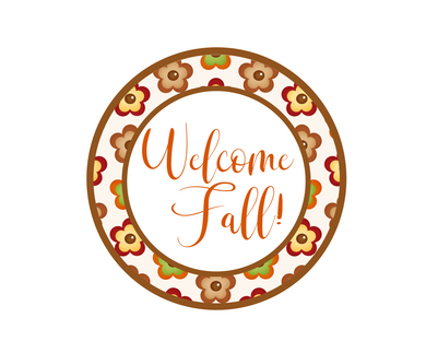 Welcome Fall Flowers Package Tag - Dots and Bows Designs