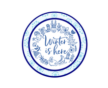 Load image into Gallery viewer, Winter Is Here w Flakes Package Tags - Dots and Bows Designs