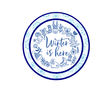 Winter Is Here w Flakes Package Tags - Dots and Bows Designs