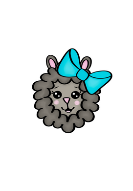 Girl Sheep Head Cutter - Dots and Bows Designs