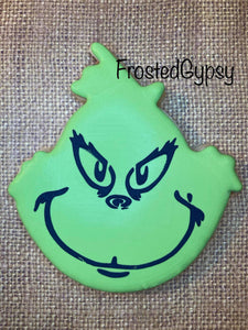 Green Meanie Face Stencil