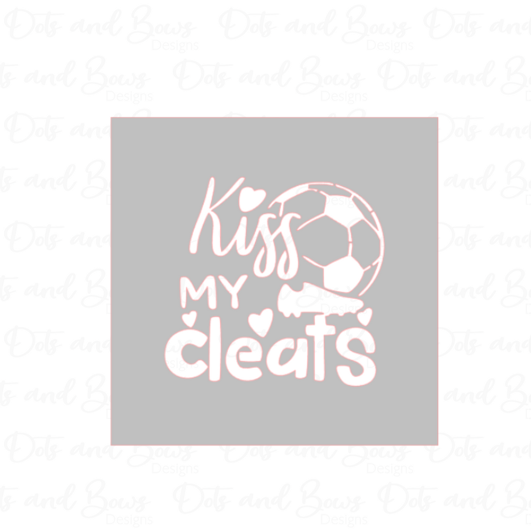 Kiss My Cleats 2-piece Stencil Digital Download CC - Dots and Bows Designs