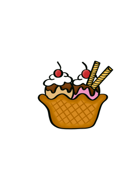 Ice Cream Sundae Cutter - Dots and Bows Designs