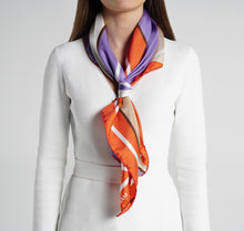 Load image into Gallery viewer, Modern Fleur Silk Scarf on model