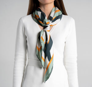 Modernist Silk Scarf on model womens scarves