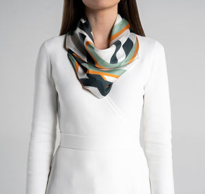 Modernist Silk Scarf on model