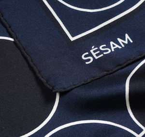 Sustainably handcrafted Sésam Motif navy italian silk twill scarf design closeup