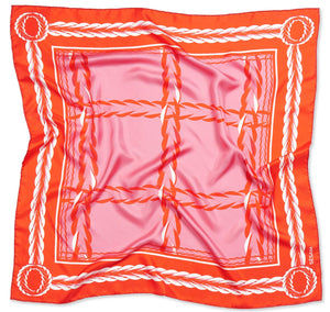 Queen Foulard Rouge and Rose Womens Square Silk Twill Scarves